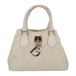 Auth Christian Dior Mini Tote Bag Trotter White Silver