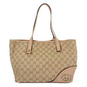Auth Gucci Tote Bag GG Canvas Beige Gold