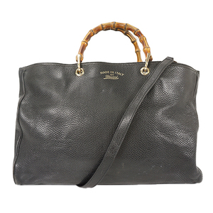 Auth Gucci Tote Bag Bamboo Leather Black