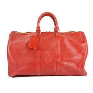 Auth Louis Vuitton Boston Bag Epi Keepall 45 M42977 Castilian Red