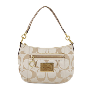 Auth Coach Shoulder Bag Poppy Beige Gold