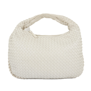 Auth Bottega Veneta One Shoulder Bag Intrecciato White Gold