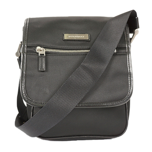 Auth Burberry Shoulder Bag Nylon Black Silver