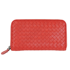 Auth Bottega Veneta Long Wallet Intrecciato Red