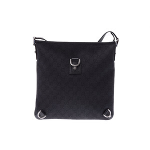Gucci GG Canvas Leather Shoulder Bag Black