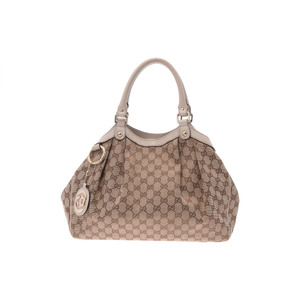 Gucci Sukey GG Canvas,Leather Handbag Beige