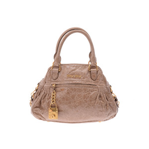 Miu Miu 2way Handbag Leather Handbag Beige