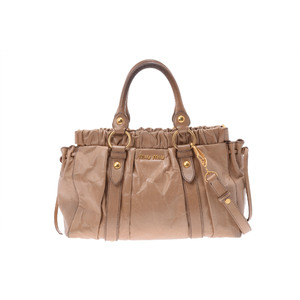 Miu Miu 2way Hand Bag Leather Handbag Beige