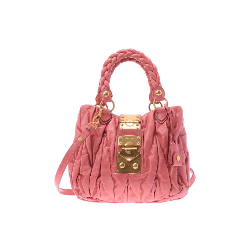 Miu Miu Matelasse 2way Hand Bag Leather Handbag Pink