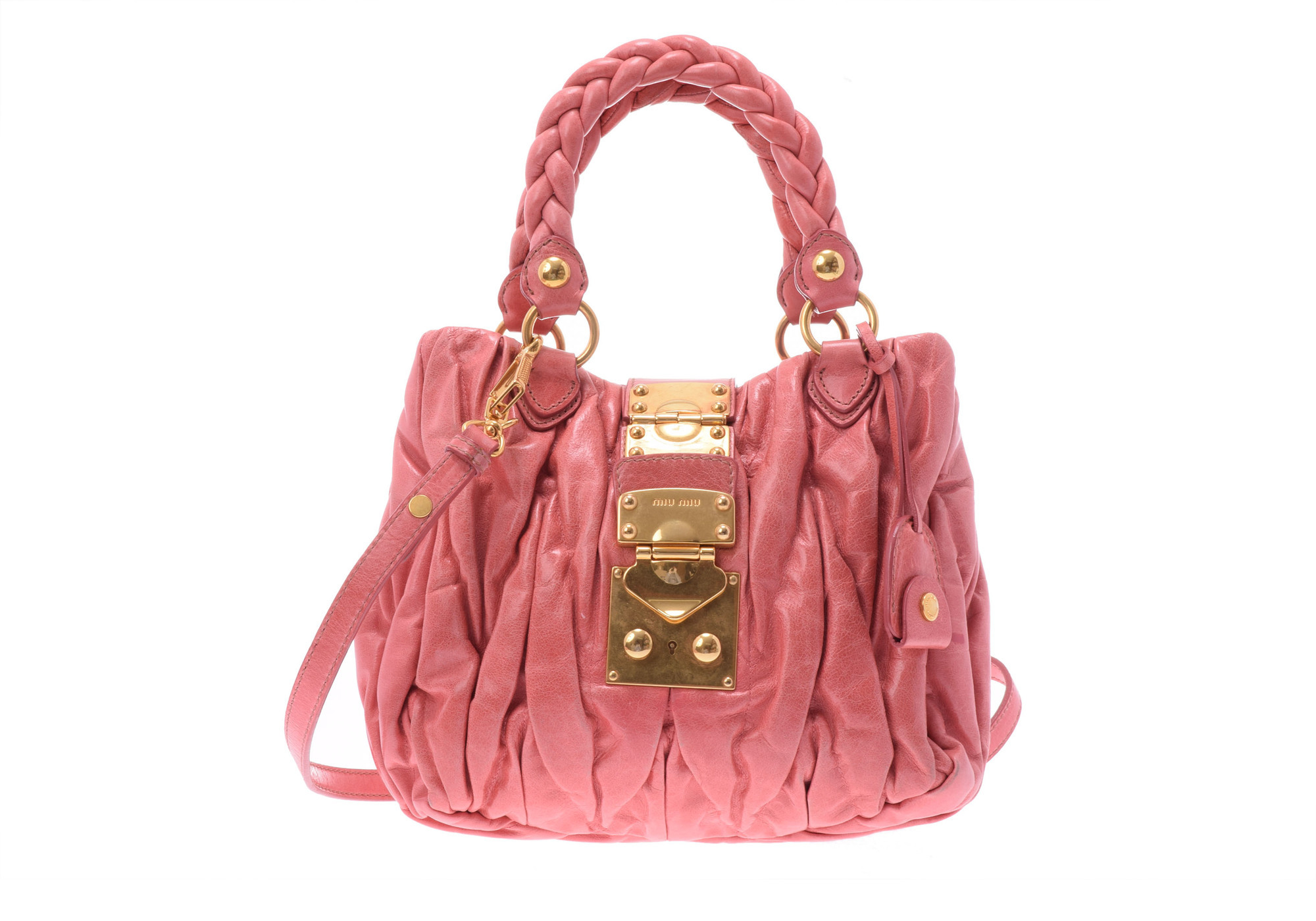 f8c764d61 Authentic Miu Miu Matelasse 2way Hand Bag Leather Handbag Pink  805000922665000