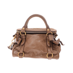 Miu Miu 2way Hand Bag Leather Handbag Camel