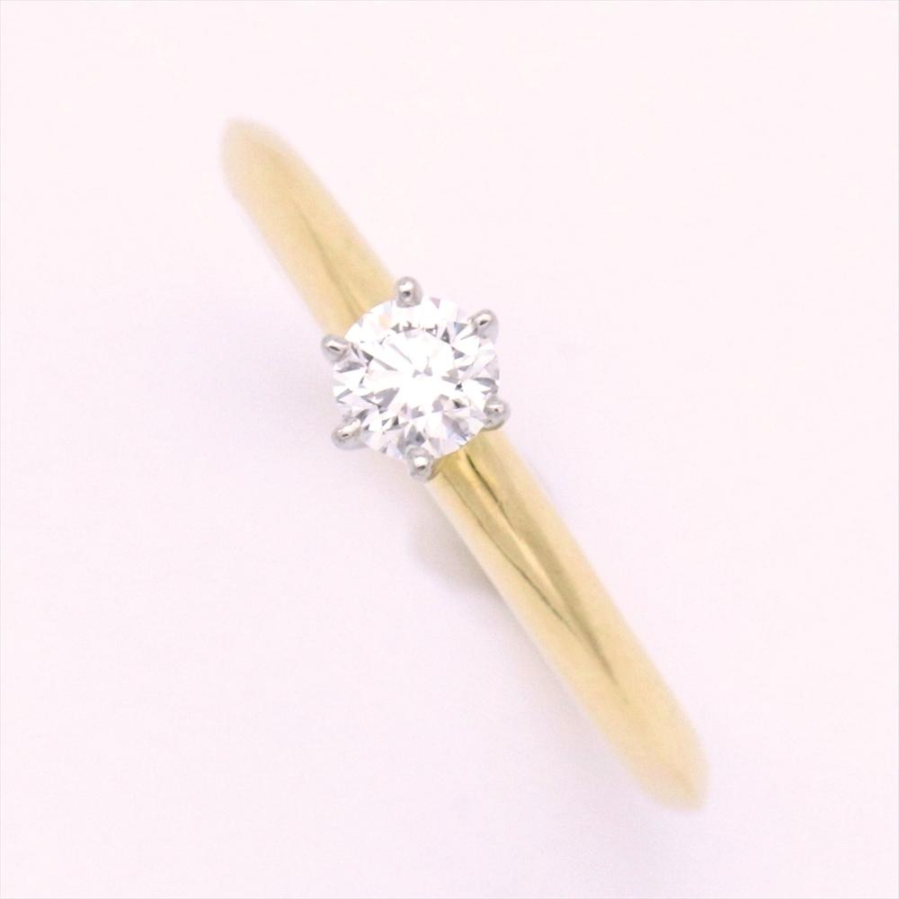 ティファニー(Tiffany) セッティング Pt950(プラチナ),K18イエローゴールド(K18YG) 婚約&結婚式用 ダイヤモンド エンゲージリング カラット/0.19 プラチナ,イエローゴールド(YG)
