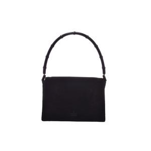 Gucci Bamboo Semi Shoulder Bag Suede Bag Black