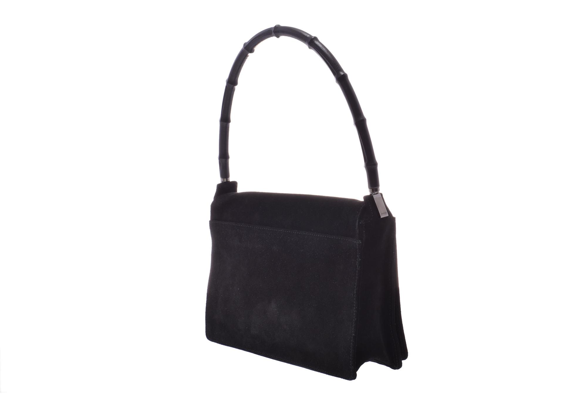 6019aec6b Authentic Gucci Bamboo Semi Shoulder Bag Suede Bag Black ...