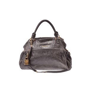 Miu Miu 2way Handbag Leather Bag Gray