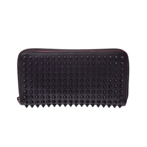 Christian Louboutin Round Fastener Wallet  Calfskin Studded Wallet Black