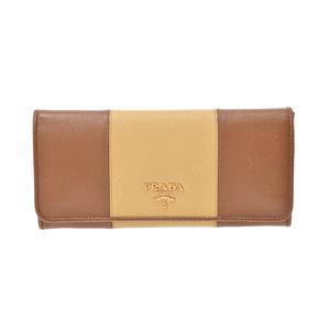 Prada Saffiano  Saffiano Leather Wallet Brown,Yellow