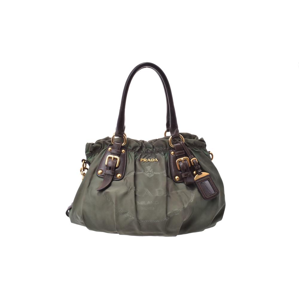 プラダ(Prada) 2way handbag ナイロン ハンドバッグ カーキ