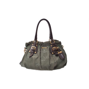 Prada 2way Handbag Nylon Handbag Khaki