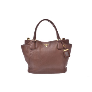 Prada 2way Totebag Leather Tote Bag Brown