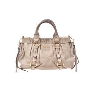 Miu Miu 2way Handbag Leather Handbag Khaki