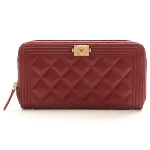 Chanel Boy Chanel A80288 Women's  Lambskin Wallet Red