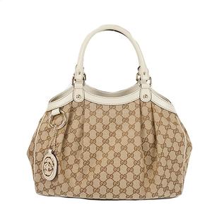 3e8263705413 Auth Gucci Tote Bag Sukey GG Canvas Beige Silver