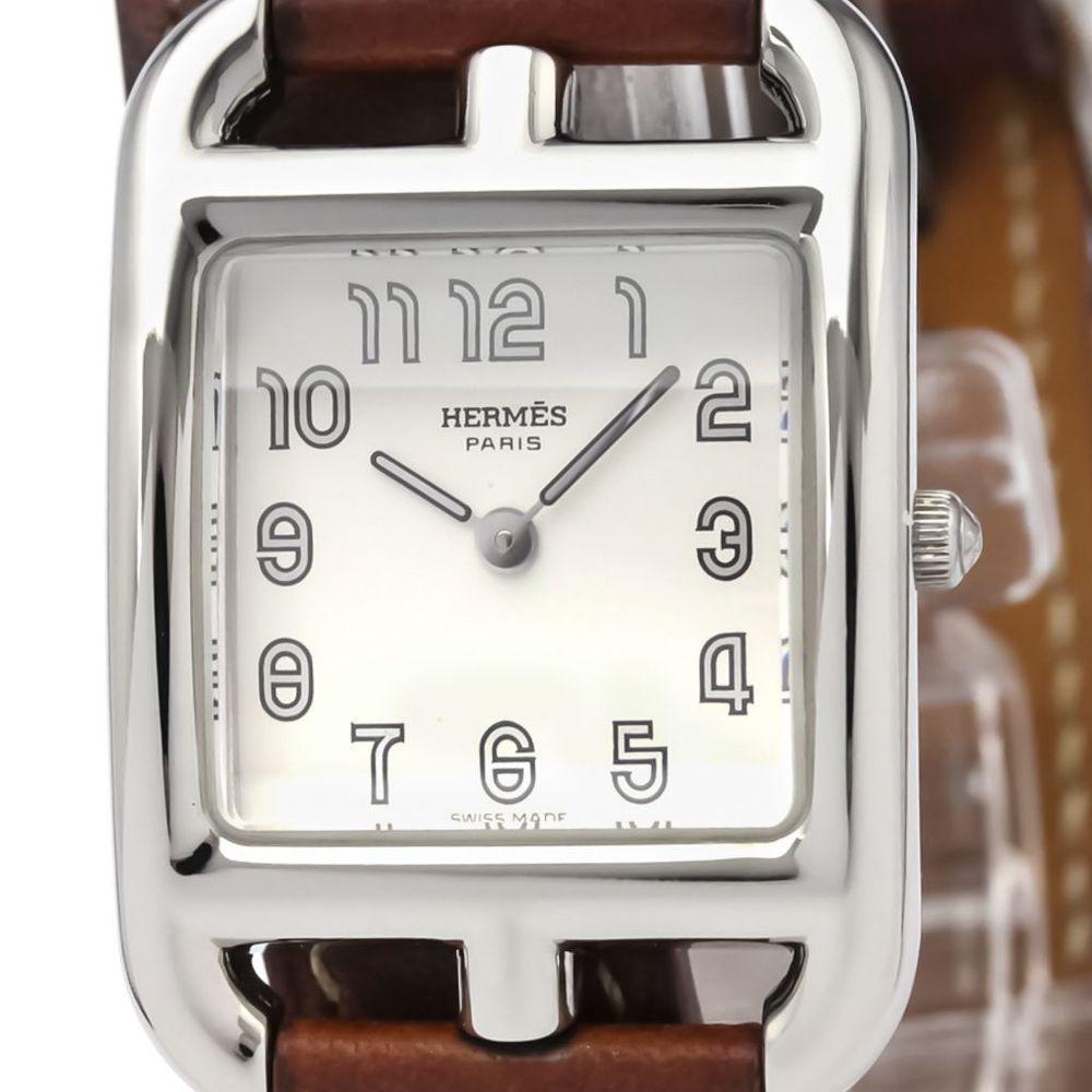 【HERMES】エルメス ケープコッド ステンレススチール レザー クォーツ レディース 時計 CC1.210