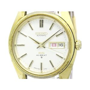 Vintage KING SEIKO Hi-Beat Day Date Gold Plated Mens Watch 5626-7000