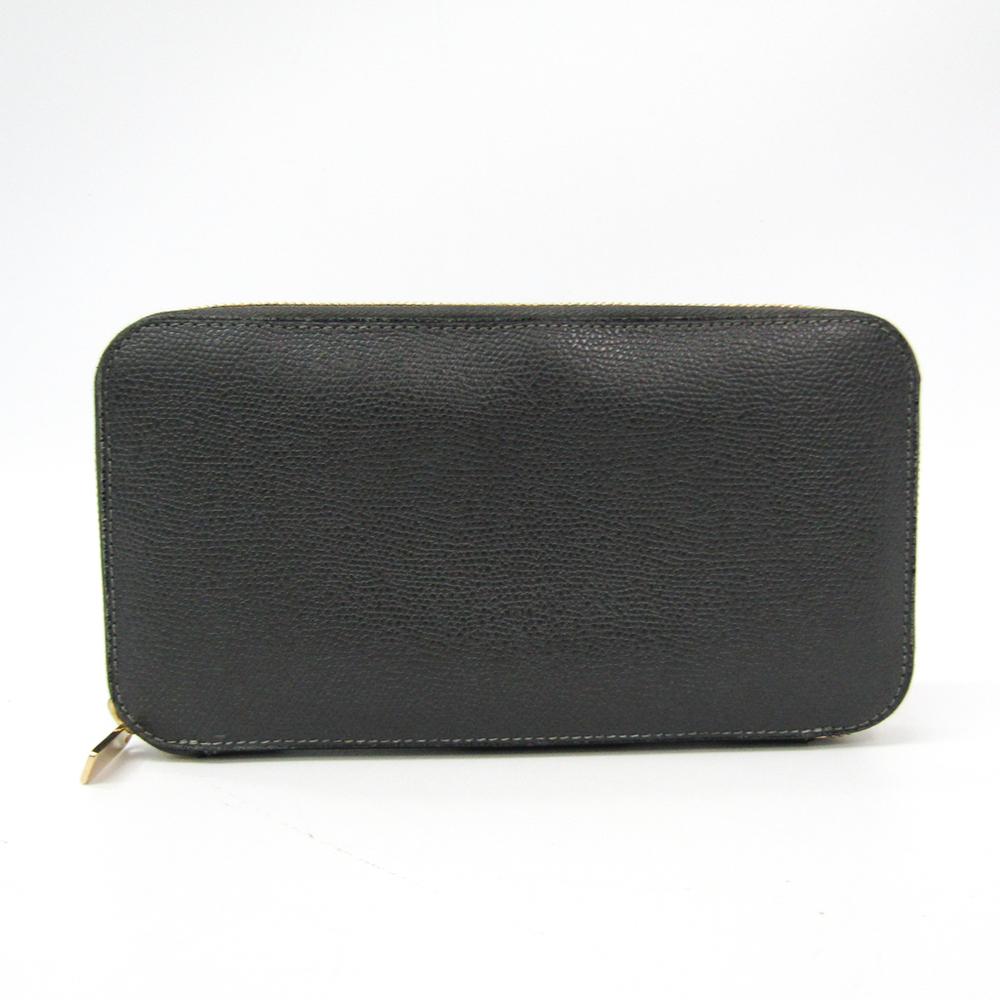Valextra V9L06 Unisex  Calfskin Long Wallet (bi-fold) Gray