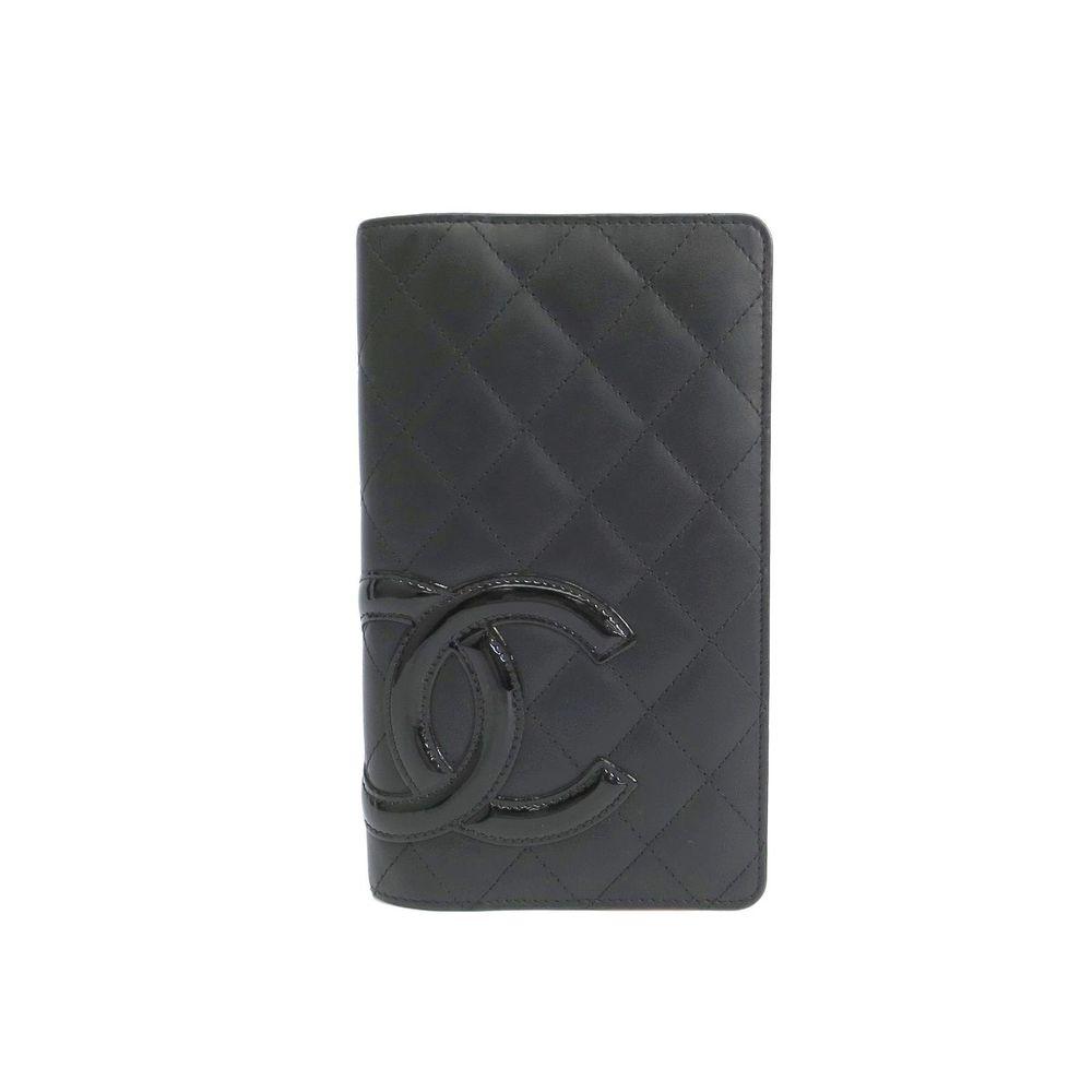 シャネル(Chanel) カンボン A26717  カーフスキン 長財布(二つ折り) ブラック