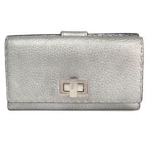 Fendi Selleria 8M0308 Women's Long Bill Wallet (tri-fold) Silver