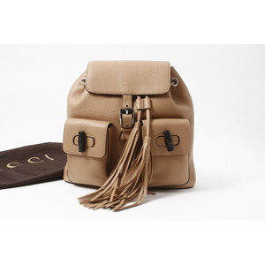 Gucci Bamboo バンブーリュック Leather Backpack Beige