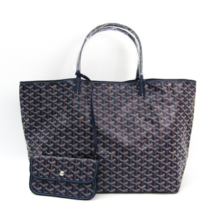 Goyard Saint Louis Saint Louis GM Leather,Canvas Tote Bag Navy