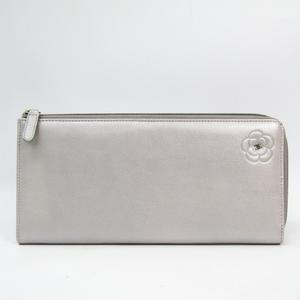 シャネル(Chanel) カメリア L字ファスナー レディース レザー 長財布(二つ折り) シルバー