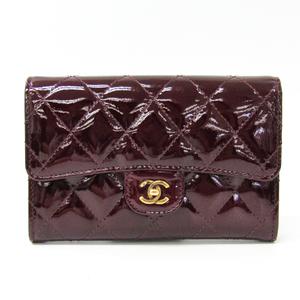 シャネル(Chanel) マトラッセ レディース パテントレザー 中財布(二つ折り) ボルドー