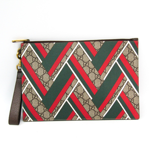 Gucci GG Chevron 429225 K1M1T 8574 Unisex GG Supreme,Leather Clutch Bag Beige,Green,Red