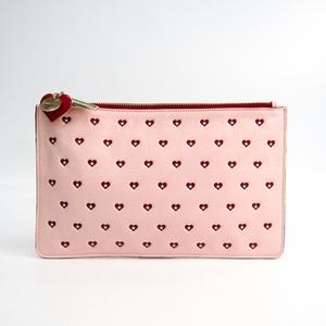 Jimmy Choo Sweet Heart Women's Leather Clutch Bag Pink,Red