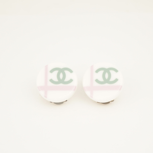 シャネル(Chanel) ココ ココマーク プラスチック シルバー金具 プラスチック クリップイヤリング グリーン,ピンク,ホワイト