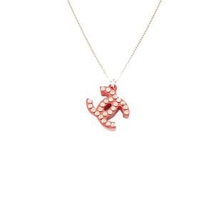 シャネル(Chanel) ココ プラスチック レディース ペンダントネックレス (レッド) ココマーク スタッズ プラスチック シルバー金具