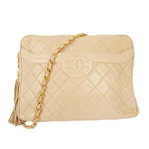 シャネル(Chanel) マトラッセ チェーンショルダーバッグ Chain Shoulder Bag レディース レザー ショルダーバッグ ベージュ