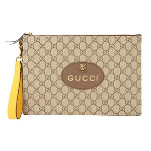 a0c42feb206e56 Auth Gucci Clutch Bag GG Supreme Beige Gold