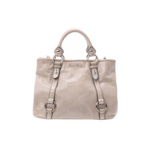 ミュウ・ミュウ(Miu Miu) 2way hand bag レザー ハンドバッグ グレー