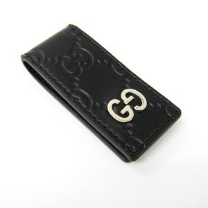 Gucci Guccissima 522867 Men's Leather,Metal Money Clip Black