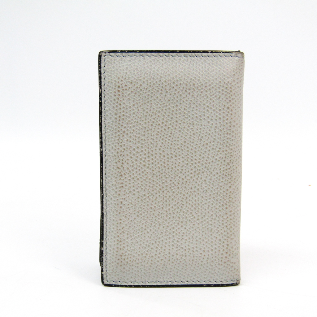 b9bd6d0ca30 Details about Valextra V8L03 Leather Card Case Light Gray BF338982