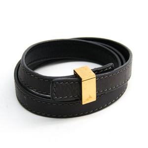 Celine Leather,Metal Bracelet Dark Gray,Gold