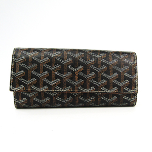 Goyard Varenne Leather,Canvas Long Wallet (bi-fold) Black