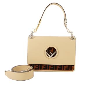 Auth Fendi Handbag,Shoulder Bag Kan I F Leather Beige