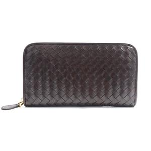 Bottega Veneta Intrecciato Zip Around Wallet Unisex Intrecciato,Leather Wallet Dark Brown