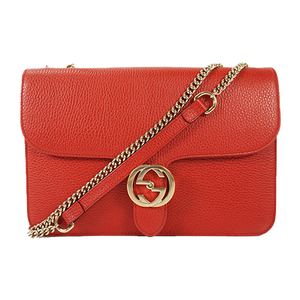 Auth Gucci Chain Shoulder Bag Interlocking Red Gold
